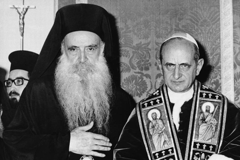 Patriarch Athenagoras I with Pope Paul VI on January 5, 1964