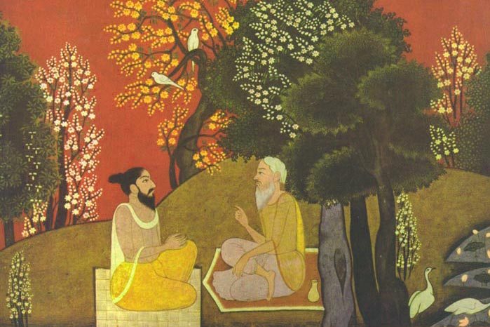 Sages in a Lanscape, Pahari miniature.